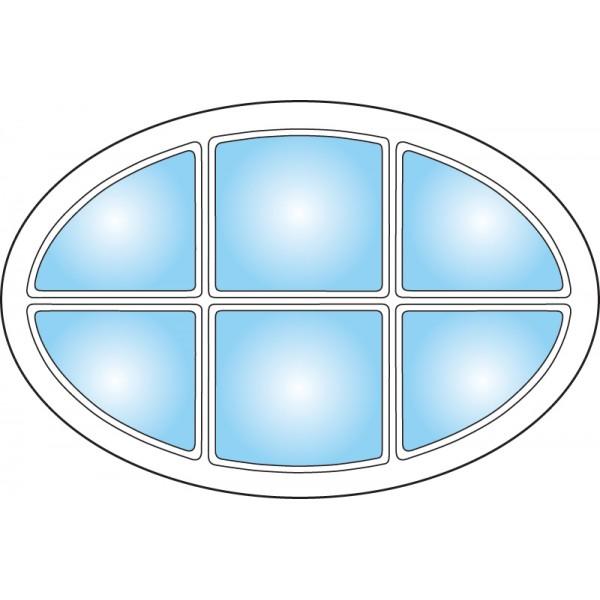 Dekorfönster Ellips med spröjs Modul 9x6