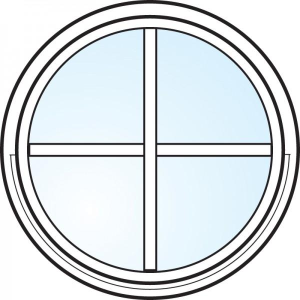 Fönster 2-glas energi argon rund vitmålat spröjsad