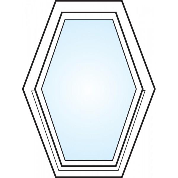 Fönster 3-glas energi argon 6-kant vitmålad Modul 6x8