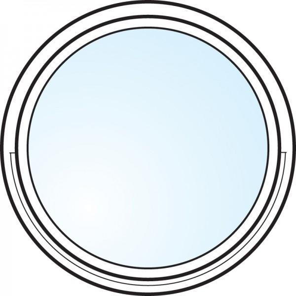 Fönster 3-glas energi argon rund vitlackerat aluminiumbeklätt öppningsbart Modul 10