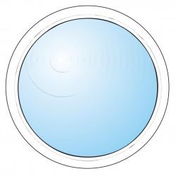 Fönster inomhus rund vitmålat
