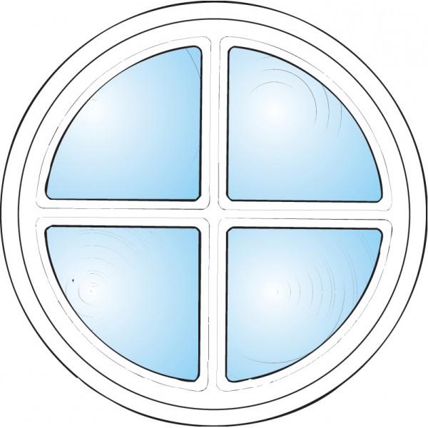 Fönster inomhus rund med spröjs vitmålat