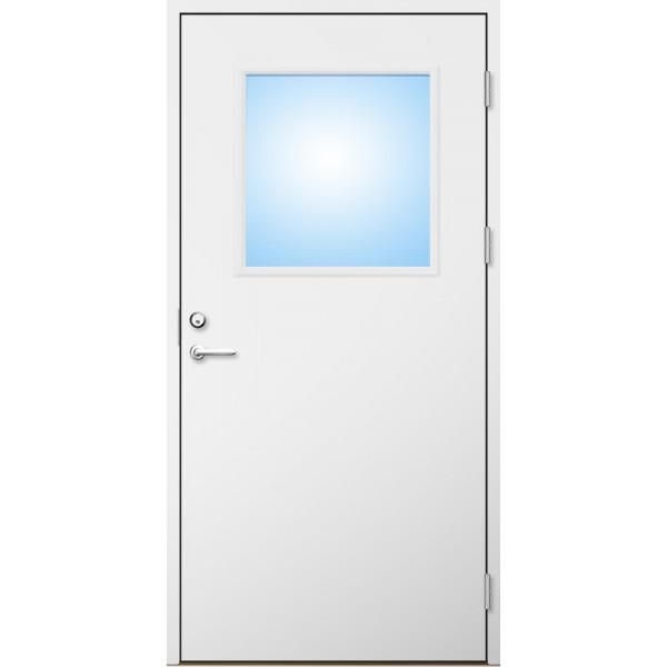 Förrådsdörr 18 graders HDF slät med glas