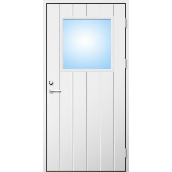 Ytterdörr 21 graders HDF bred stående spårning med glas